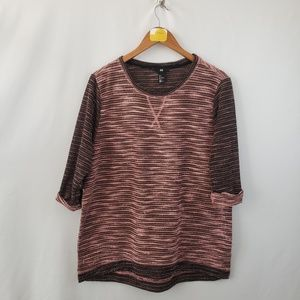 H & M Pullover Sweater Sz Large 3/4 Sleeve Pink